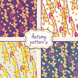 Seamless autumn pattern set Royalty Free Stock Images