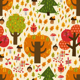 Seamless autumn pattern with trees, mushrooms, lea. Ves, berries for textiles, interior design, for book design, website background Royalty Free Stock Photo