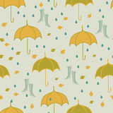 Seamless autumn pattern with umbrella. Woman shoes, leaf under rain. Hand drawn Royalty Free Stock Photos
