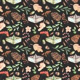 Seamless autumn pattern with watercolor fir cones, paper boats, rowan tree branches and berries, oak acorns Stock Images