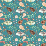 Seamless autumn pattern with watercolor fir cones, paper boats, rowan tree branches and berries, oak acorns. Hand painted on a dark blue background Royalty Free Stock Photo