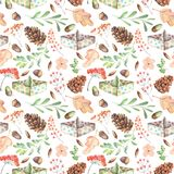 Seamless autumn pattern with watercolor fir cones, paper boats, rowan tree branches and berries, oak acorns. Hand painted on a white background Royalty Free Stock Photo