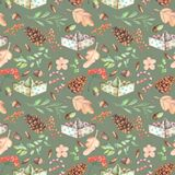 Seamless autumn pattern with watercolor fir cones, paper boats, rowan tree branches and berries, oak acorns Stock Photo