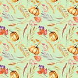 Seamless autumn pattern with watercolor pumpkins, tree branches and berries Stock Images