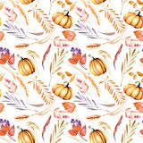 Seamless autumn pattern with watercolor pumpkins, tree branches and berries. Hand painted on a white background Stock Photography