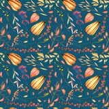 Seamless autumn pattern with watercolor pumpkins, tree branches, rowan and other berries Stock Photo