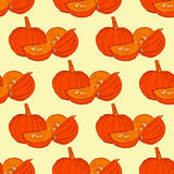 Seamless autumn pumpkin seamless pattern. Seamless patterns are used in textile design, postcards, calendars, websites. Wallpapers, packages, backgrounds Stock Photos