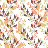 Seamless autumn vector organic floral background. Color leaves on white. Stock Photography