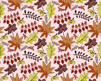 Seamless autumn vector pattern with leaves royalty free illustration