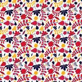 Seamless autumnal leaves pattern. On white background Stock Photo