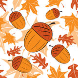 Seamless autumnal pattern with acorns Royalty Free Stock Image