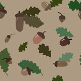 Seamless autumnal pattern with acorns and leaves Royalty Free Stock Photography