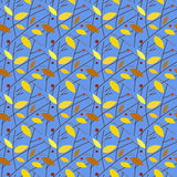 Seamless autumnal pattern. Leaves, twigs, berries Royalty Free Stock Photo