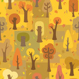 Seamless autumnal pattern. Ornate autumnal trees and leaves stock illustration