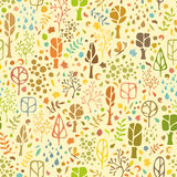 Seamless autumnal pattern. Ornate autumnal trees, leaves, drops and various elements on light background Stock Photo