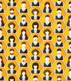 Seamless avatar characters pattern background Stock Photos