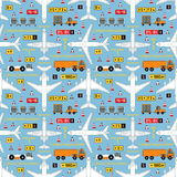 Seamless aviation pattern with airplanes and airport vehicles Stock Photo