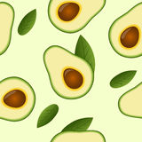 Seamless avocado pattern with leaf Stock Photography