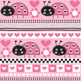 Seamless aztec ladybird pattern vector illustration Stock Photos