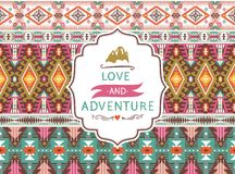 Seamless aztec pattern with geometric elements and. Seamless colorful decorative  aztec pattern with geometric elements Stock Photo