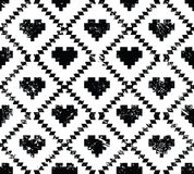Seamless aztec tribal pattern with hearts - grunge, retro style Royalty Free Stock Images