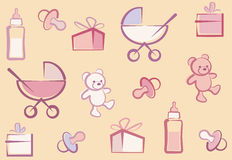 Seamless Baby Background. Vector Seamless Baby Background Pattern Royalty Free Stock Image