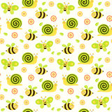 Seamless baby background with with bees, butterflies, snails and flowers. On white Royalty Free Stock Image