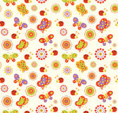 Seamless baby background with with bees, butterflies, snails and flowers Royalty Free Stock Photography