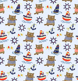 Seamless baby background with boats, cats and sea Stock Images