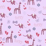 Seamless baby background with giraffe and elephant Royalty Free Stock Photography