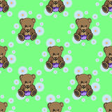 Seamless baby bear pattern. On green Royalty Free Stock Photography