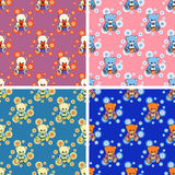 Seamless baby bear pattern set. Seamless little bear pattern set Royalty Free Stock Image