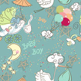 Seamless Baby Boy pattern. With Blue background Stock Images