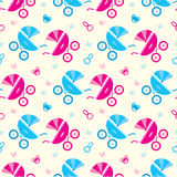 Seamless baby carriages pattern Royalty Free Stock Photos