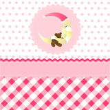 Seamless baby girl pattern. Pink cartoon moon wallpaper stock illustration
