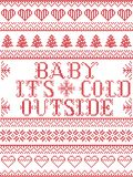 Seamless Baby its cold outside  Scandinavian fabric style, inspired by Norwegian Christmas, festive winter pattern in cross stitch Stock Photo