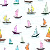 Seamless baby kids pattern Hand drawing colorful yachts vector. Many small colored sail boats on white background. Flat style illustration. Summer, vacation vector illustration