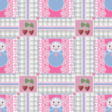 Seamless baby kids pattern with toys on checkered background Royalty Free Stock Photos