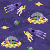 Seamless baby pattern – Space adventure Royalty Free Stock Photography