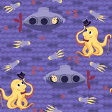 Seamless baby pattern – underwater meeting Royalty Free Stock Photos