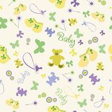 Seamless Baby Pattern with Bootees and Bear. Royalty Free Stock Photography