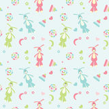 Seamless baby pattern colored toys and bunnies Royalty Free Stock Photography