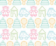 Seamless baby pattern with colorful babyish elements. Seamless baby pattern with colorful outlined children's toys. Happy and colorful color palette stock illustration