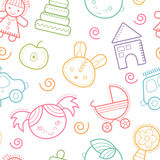 Seamless baby pattern with colorful babyish elements vector illustration