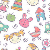 Seamless baby pattern with colorful babyish elements stock illustration