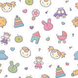 Seamless baby pattern with colorful babyish elements. (toys, boys and girls). Happy pastel color palette stock illustration