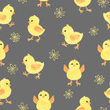 Seamless baby pattern with cute little chickens. Funny yellow chicks in different poses. Vector illustration vector illustration