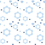 Seamless baby pattern flowers and hearts Stock Photo