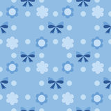 Seamless baby pattern flowers and ribbons Stock Photography
