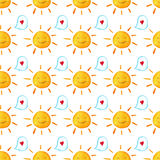 Seamless baby pattern. Hand painted illustration. Wallpaper with hearts, bubbles and suns watercolor.  on white background. Seamless baby pattern. Hand painted Stock Photography